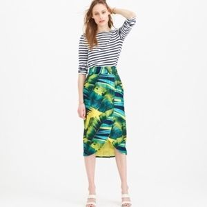J. Crew ceossover skirt in palm leaf